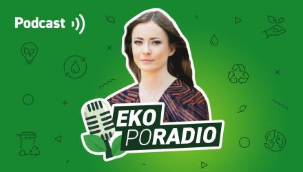 Grafika przedstawia prowadzącą podcast oraz logo EKOpoRADIO